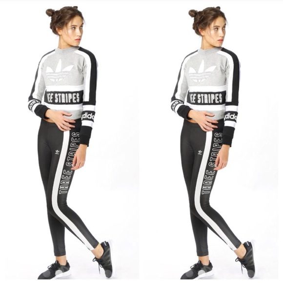low cost super quality new collection ADIDAS 3 STRIPE CROPPED CREWNECK & LEGGINGS OUTFIT